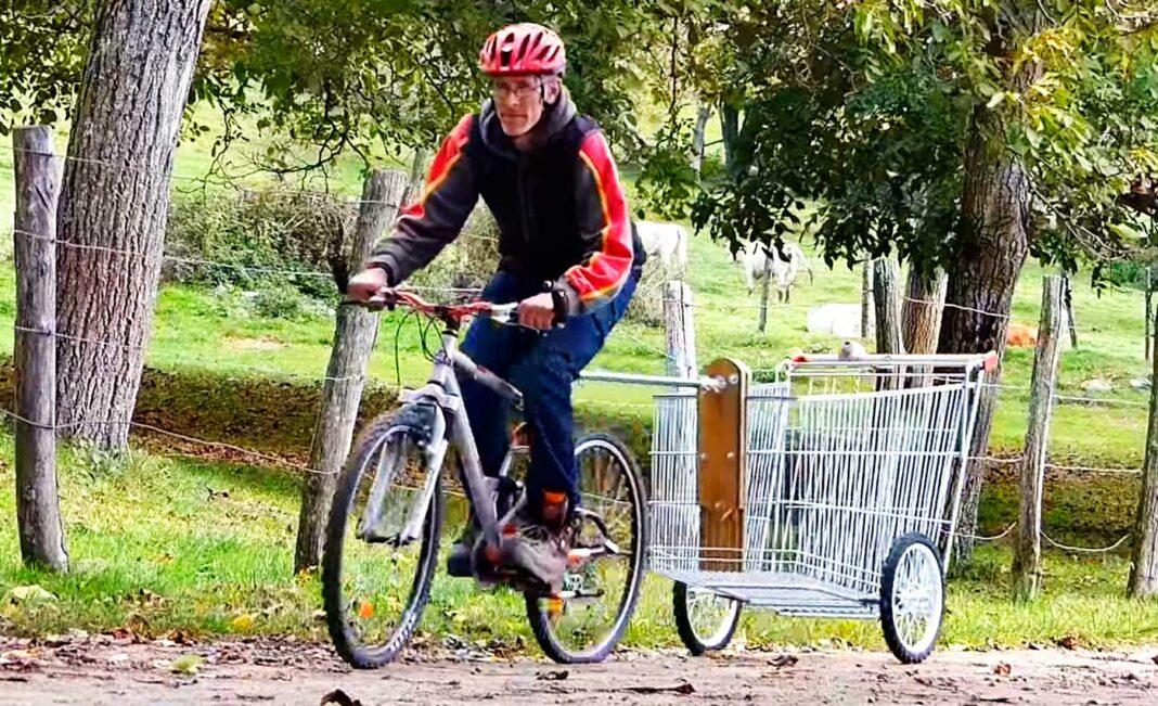 construir una bicicleta de carga con un carrito de la compra
