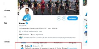 cuenta de twitter de Rubén Fernández