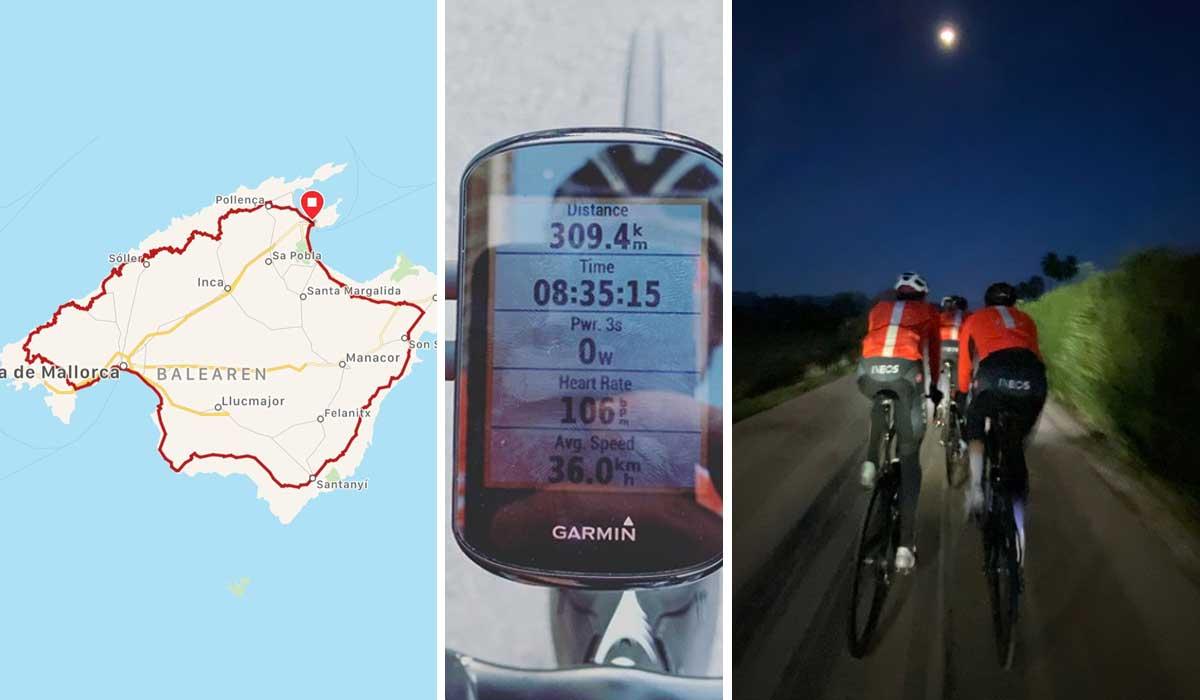 Geraint Thomas rueda 312 kilómetros junto a sus compañeros del team ineos en mallorca