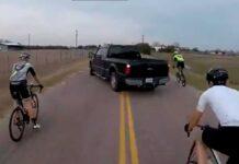 conductora pone en peligro a grupo de ciclistas