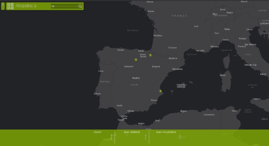 mapa actualizado de ciclistas atropellados en las carreteras españolas
