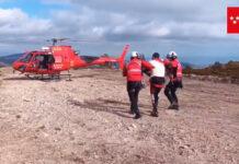 Los bomberos rescatan en helicóptero a un ciclista con la clavícula rota en Bustarviejo, Madrid