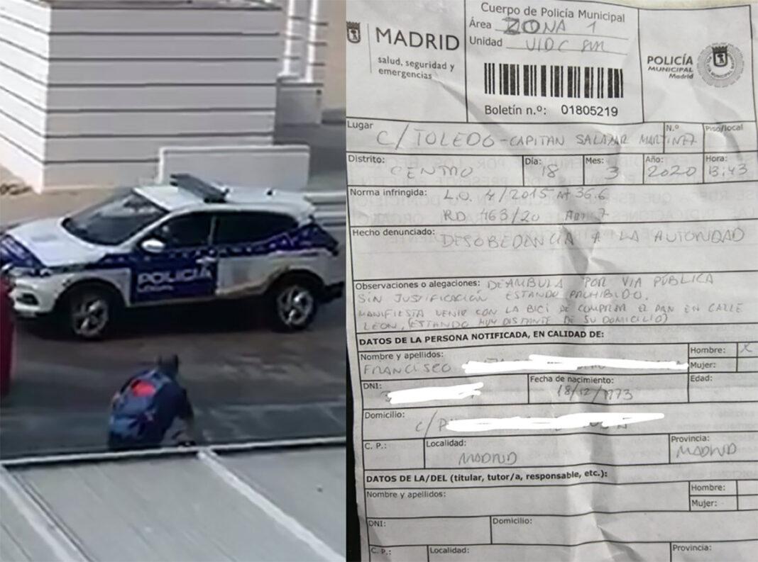 multa-ciclista-madrileño-comprar-pan-en-bicicleta-estado-de-alarma-coronavirus-madrid-policia