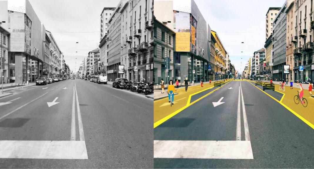 Milán también está transformando la mayor parte de sus calles para uso ciclista y peatonal con urgencia