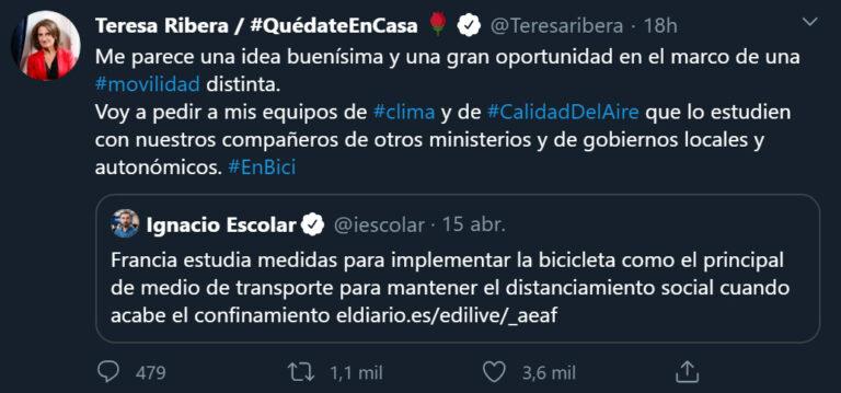 La ministra Teresa Ribera pedirá estudiar el uso de la bicicleta tras el confinamiento