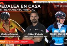 Sesión de entrenamiento con Carlos Coloma, Mikel Zabala e Isabel Quevedo el martes 28 de abril a las 1900 horas