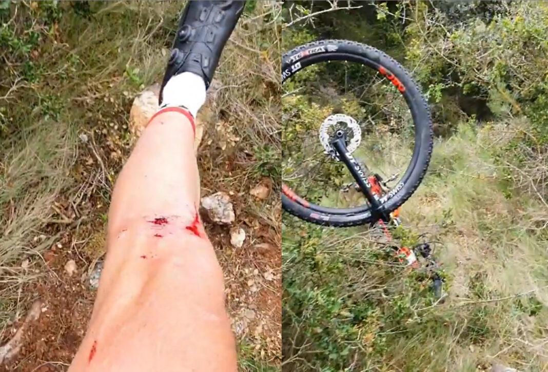 Vídeo: Así ha sido la caída de Sergio Mantecón entrenando en bicicleta de montaña