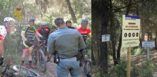 El Seprona multa a un grupo de ciclistas de montaña por montar en senderos no autorizados