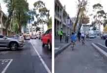 Encuentra las mil diferencias entre este carril bici segregado y el mismo pero no segregado
