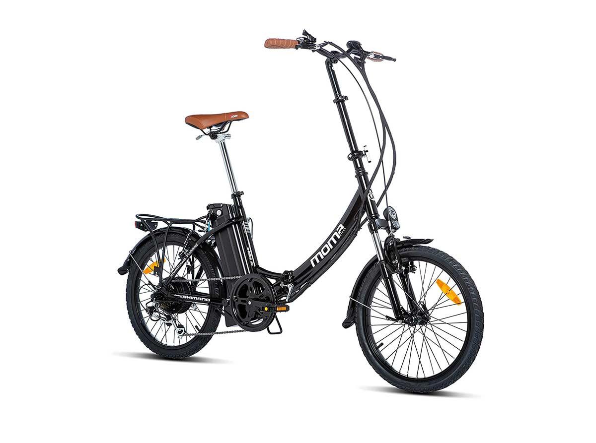 Una bicicleta plegable eléctrica y barata moma