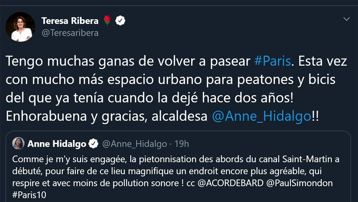 A-la-ministra-Ribera-le-gustaría-ir-a-pasear-por-París-ya-que-por-España-es-imposible-hacerlo-en-bici