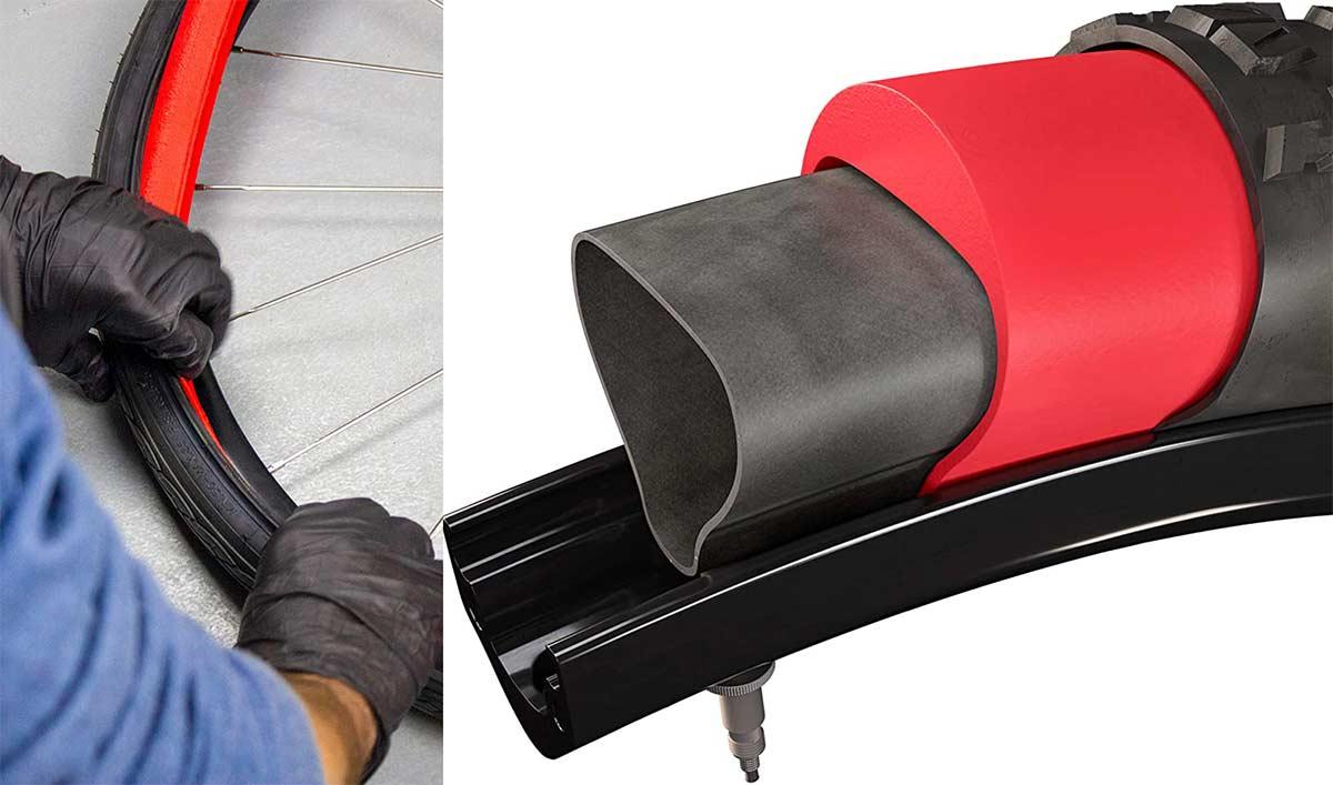 Espuma tipo mousse antipinchazos para usar con cámara en cubiertas de bicicleta no tubeless