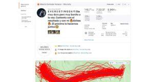 Strava muestra los datos del Everesting de Contador: Tiempo 7:27:20, Potencia 253W, Media 18,2 Km/hm, Distancia 136 Km, Máxima 96,1 km/h, Ascensiones 78