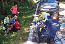 Tres ciclistas heridos al chocar con un corzo esta mañana en Lagrán