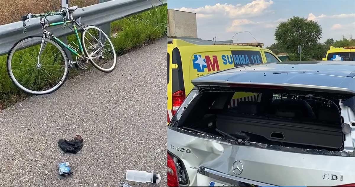 Un coche parado en el arcén provoca un grave accidente a un ciclista que no lo vio