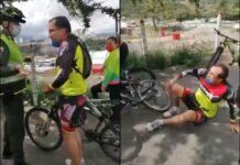"""Vídeo: La """"onda vital"""" de un policía derriba varios metros a un ciclista"""