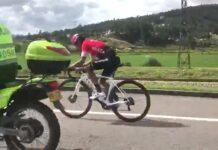 Vídeo: Nairo Quintana con escolta tras el atropello entrenando en bicicleta de carretera