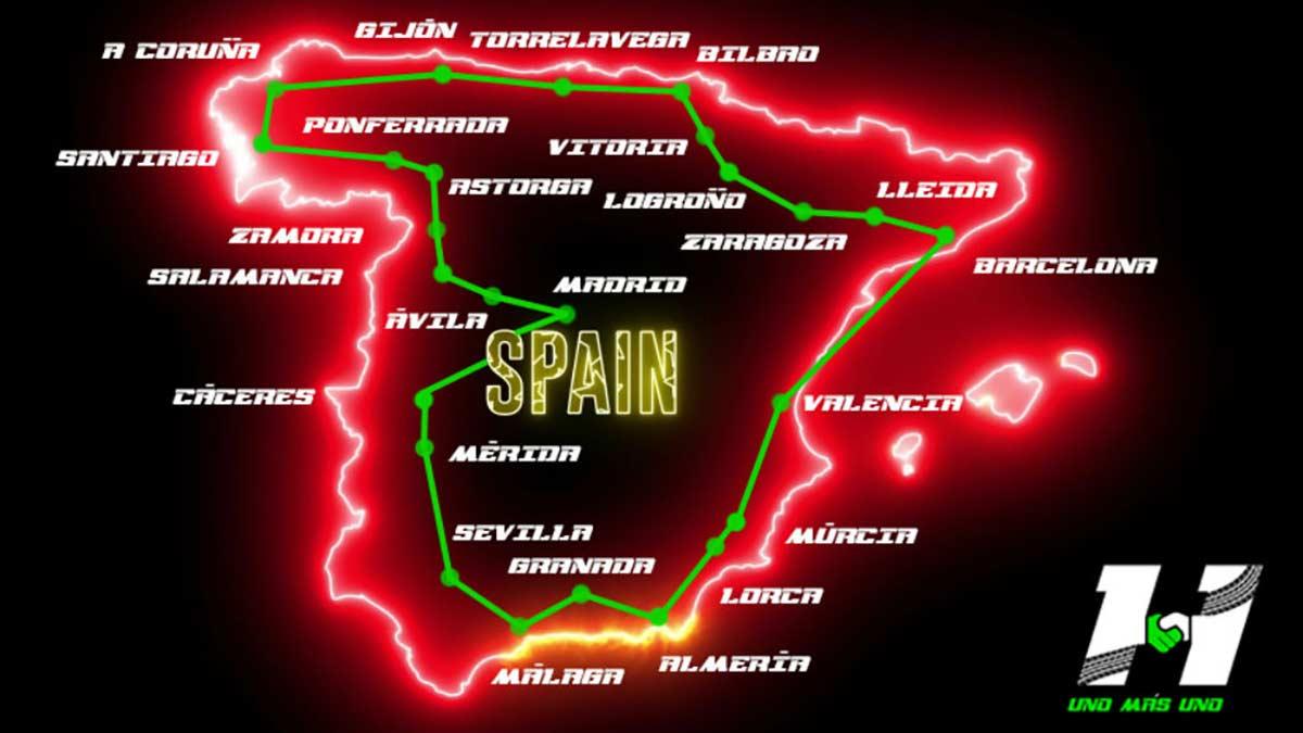 Vuelta a España en bicicleta de 70 etapas, dos meses pedaleando y 5000 km para entregar 5000 kilos de alimentos