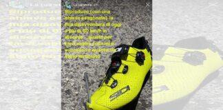 una-llave-allen-hexagonal-atraviesa-la-zapatilla-del-ciclista-giovanni-visconti-en-el-giro-de-italia