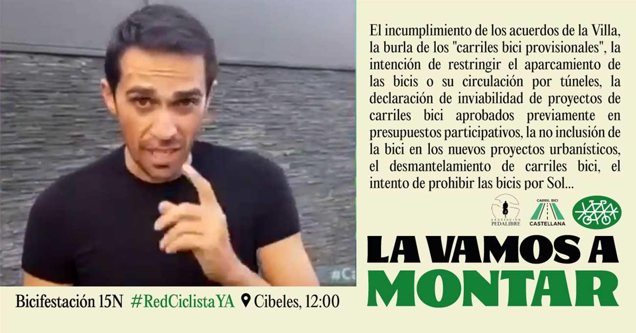 Alberto Contador se une a la #Bicifestacion15N a favor de los carriles bici en Madrid