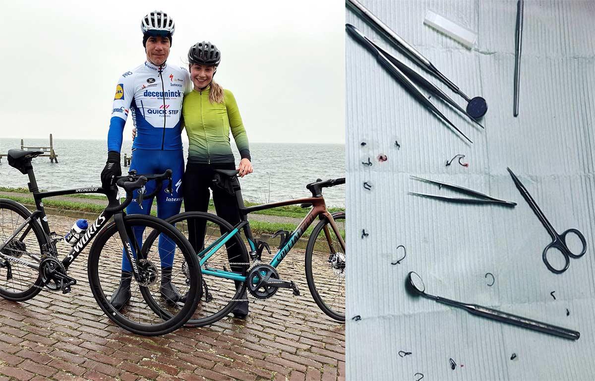 Fabio Jakobsen vuelve a montarse sobre su bicicleta de carretera
