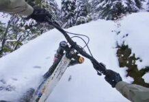 Vídeo: Hacer descenso en bicicleta de montaña con nieve en el bike park
