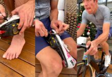 """Vídeo: """"Necesito entrenar"""". El tuneo de zapatilla de Rigoberto Urán para poder montar en bici con el dedo roto"""