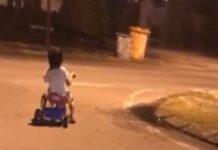 Vídeo: Un joven ciclista en triciclo atemoriza a un vecindario durante la noche