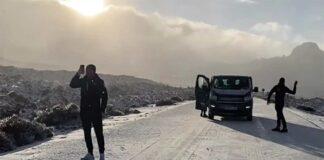 El equipo Astana rescatado en Tenerife tras las nevadas