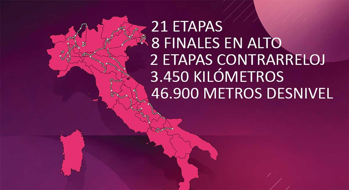 Video: Así son los 3.450 Km y casi 50.000 metros de desnivel del Giro de Italia 2021. Todas las etapas al detalle