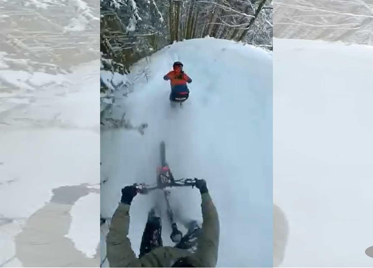 Vídeo: Haciendo freeride en bicicleta de montaña sobre la nieve con Vincen Tupin