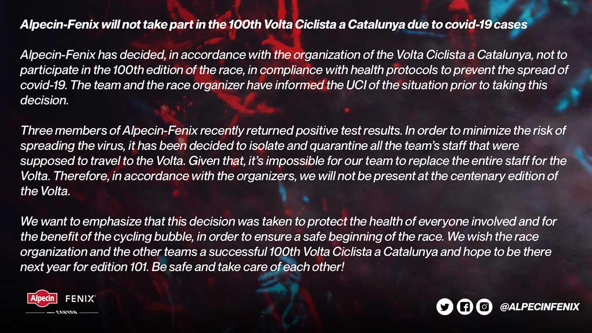 El Alpecin-Fenix no viajará a España tras detectarse tres positivos en en el equipo