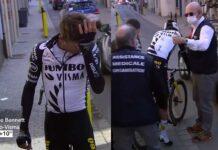 Video-Polemica-con-la-caida-de-George-Bennett-partiendo-el-casco-en-dos-y-quedar-aturdido-en-la-Paris-Niza-UCI-CTE-contusion-cerebral