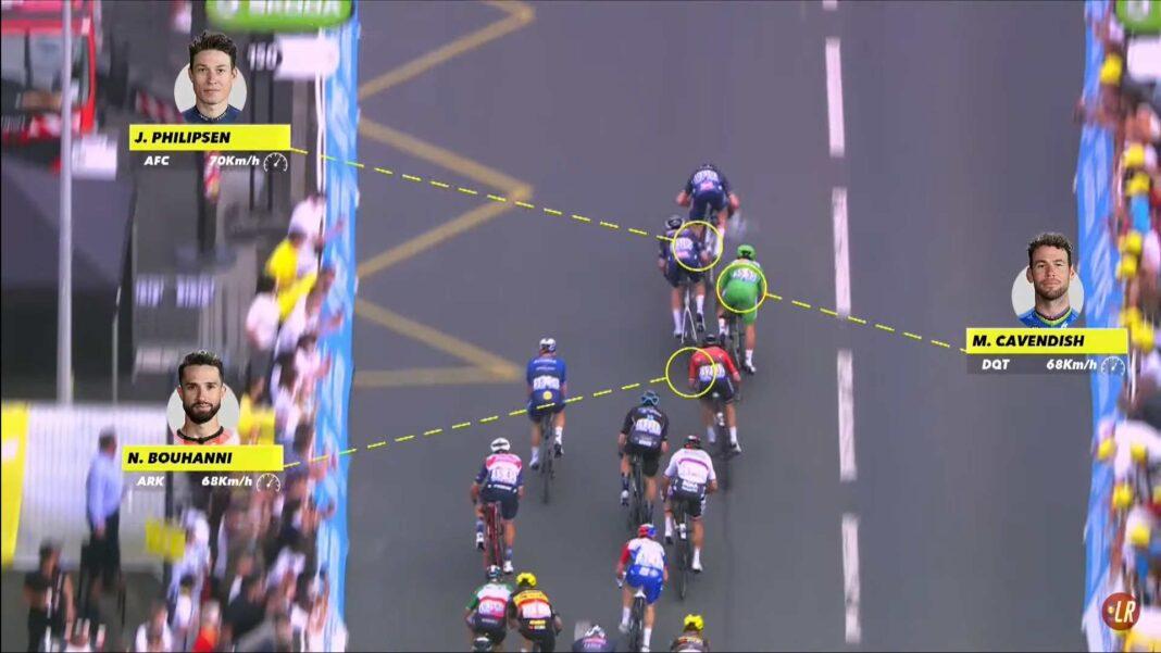 Vídeo: El esprín de Cavendish desde el aire ¿Cerró a los ciclistas del Alpecin-Fenix?