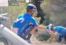 Alejandro Valverde se cae por un barranco en La Vuelta con su bicicleta